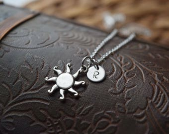 sun charm necklace | silver sun necklace | celestial necklace | boho necklace | gift for her | best friend necklace | initial charm