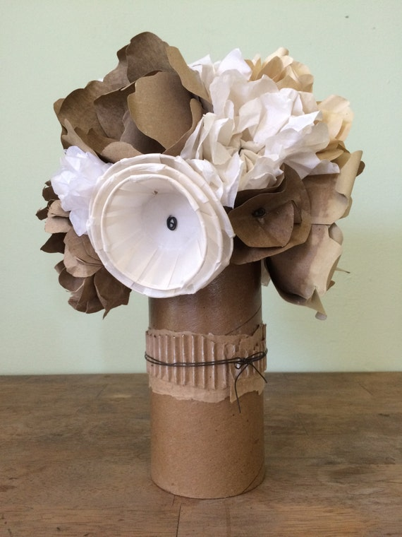 Recycled paper flower bouquet with cardboard tube with wire mightylinksfo Choice Image