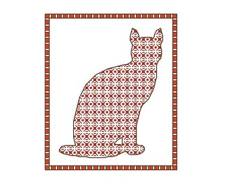 Blackwork Cat, blackwork animals chart PDF pattern cats