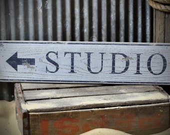 Custom Distressed Studio Arrow Sign - Rustic Hand Made Vintage Wooden ENS1000614