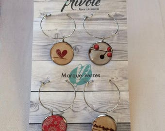 "Set of 4 signs-glasses ""holiday collection"" by frivolous jewelry"