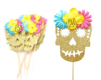 Glitter Sugar Skull Cupcake Toppers - Fiesta Cupcake Toppers, Halloween Party, Fiesta Birthday Party, Dia De Los Muertos, Day of the Dead