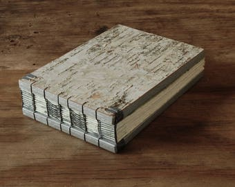 wood wedding guest book  birch bark cabin vacation home - rustic silver natural unique wedding anniversary gift memorial ready to ship