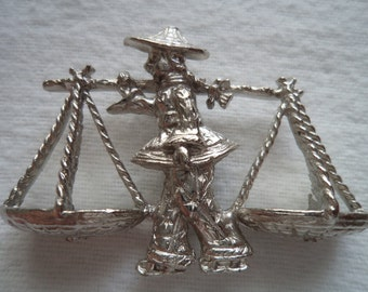 Fabulous Unsigned Vintage Silver pewter Chinese Man carrying Baskets Brooch/Pin