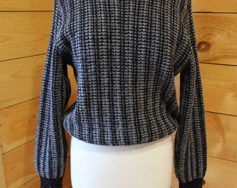 Vintage 70s 1970s Jersild Black and Grey With Multicolor Speckles Crewneck Pullover Sweater