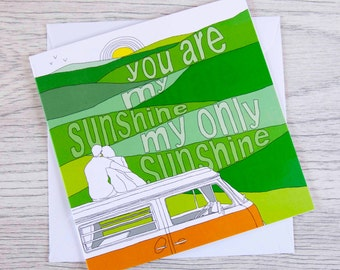 Campervan card 'You are my sunshine'
