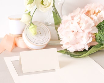 Cream Place Card Paper, Folded Place Cards, Printable Place Card Stock, Cream Card Stock, LASER or INKJET, Everly Paper, No. 7 | 5 sheets