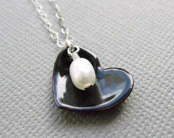 Black Enamel Heart Necklace Pearl Sterling Silver