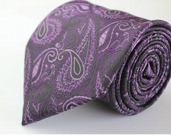 Voilet Paisley Ties.Mens Silk Ties.Wedding Ties.Business Neckties.Wedding Ties.Gift For Him.