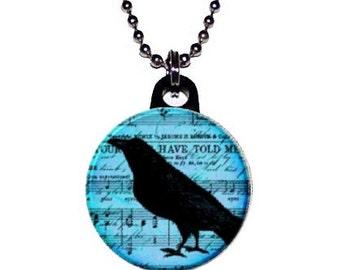 Blue Tint  Music Sheet Raven Crow Necklace