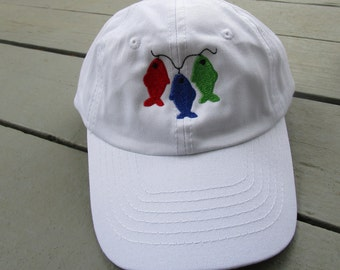 Childs Embroidered Fish-On-A-Line Hat with Optional Personalization
