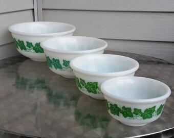 "Set of Four Hazel Atlas ""Ivy"" Nested Mixing Bowls"