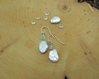 Reiki Healing Earrings, Pearl Earrings, Blue Topaz, Sincerity, Centering Earrings, Integrity, Communication