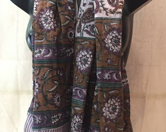 Summer Pareo. Brown sarong. Summer Shawl. Shawl for the beach. Cotton printed scarf. Brown scarf. Flower scarf.