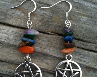 Chipped Element Pentacle Earrings