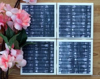 Arrow Coasters - Rustic Coasters - Coasters - Drink Coasters - Tile Coasters - Ceramic Coasters - Ceramic Tile Coasters - Coaster Set