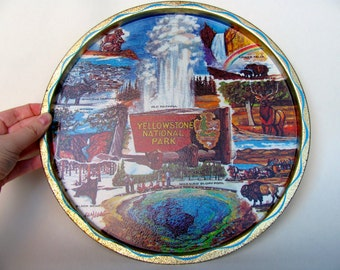 Vintage 60s Yellowstone National Park Serving Tray