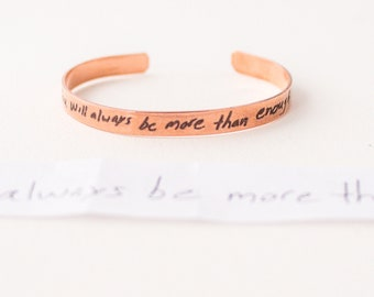 Actual Handwriting Jewelry | Memorial Gift | Sympathy Gift | Remembrance Gift | Signature Bracelet | Handwriting Bracelet | Cuff Bracelet