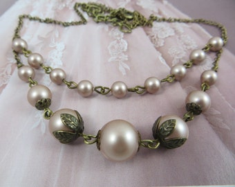 Vintage Necklace Pearl Necklace Taupe Victorian Dress Renaissance Dress Brass Antique Jewelry Wedding Dress Bronze Edwardian Necklace Gift