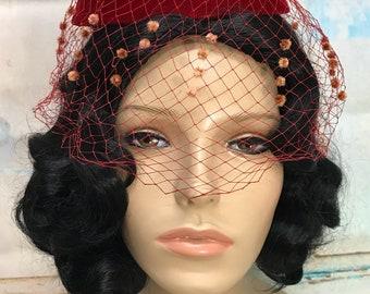 50s Red Velvet Hat Veil Pompom Netting Chenille Dot