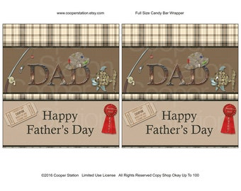 Printable Digital Father's Day Hershey Candy Bar Wrapper- Dad - Best Father - Fishing - chocolate wrapper