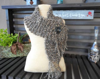 Hand Knit Scarf  Hand Knit Cowl