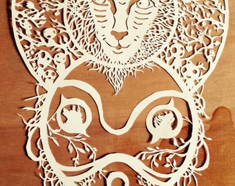 Paper Cut Princess Mononoke - Studio Ghibli Themed art