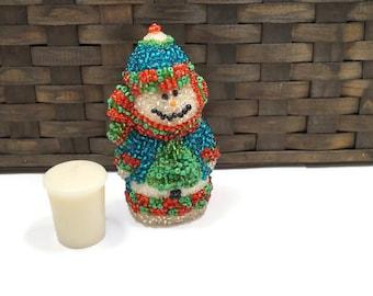 Christmas Decor, Snowman Figurine, Ceramic Snowman, Beaded Snowman, Winter Wonderland Decor, Holiday Decor, Winter Decor, Christmas gift