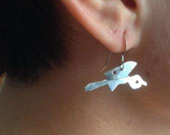 Wheelbarrow Earrings, Sterling Silver, Dangle Earings, Occupational Jewelry, Garden Earrings, Silver Wheelbarrow, Gardener Earrings