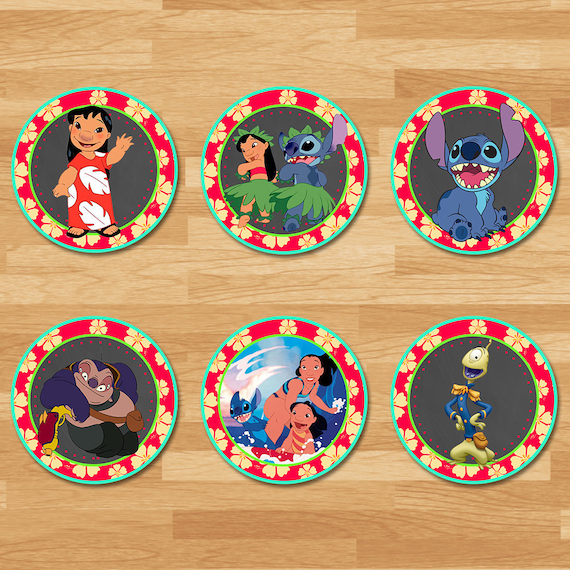 Lilo and Stitch Cupcake Toppers - Chalkboard - Lilo and Stitch Stickers - Lilo and Stitch Party Favors - Lilo and Stitch Party Printables
