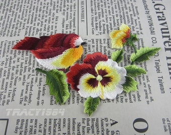 Embroidered Bird Flower Applique Iron On Patch