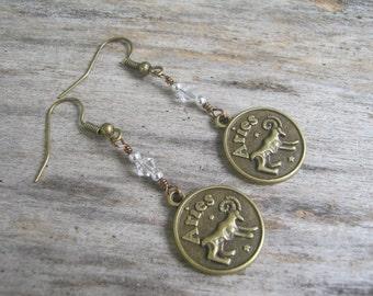 BRONZE Aries Earrings, Personalized Zodiac Earrings, Aquamarine Diamond Earrings, Swarovski Birthstone, Astrology, March April Jewelry