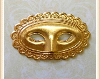 2 pieces mask mardi gras masquerade raw brass, vintage,stampings, embellishments (LARGE)#4181