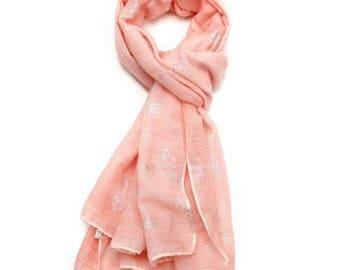 Beautiful Foil Tie Dye Feathers Scarf