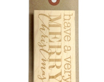 Have a Very Merry Christmas Wood Mounted Red Rubber Stamp with Engraved Top - 1.5 x 3 Inches - Perfect Size for Stamping Large Tags