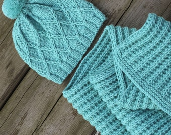 Knitted baby set turquoise hat and scarf baby pom pom hat knit baby scarf wool baby hat baby wool scarf baby girl scarf baby boy scarf knit