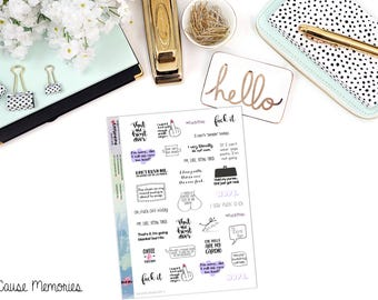 SNARK SAMPLER 3 - Paper Planner Stickers - Mini Binder Sized/3 Hole Punched