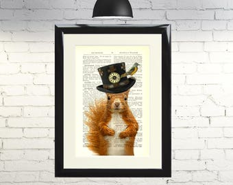 Dictionary Art Print Steampunk Squirrel in a Top Hat Framed Vintage Poster Picture Handmade Original Artwork Book Page Home Decor Gift