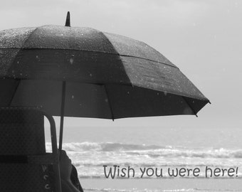 Wish you were here!  A card featuring an original photograph.  Blank inside for your own message.