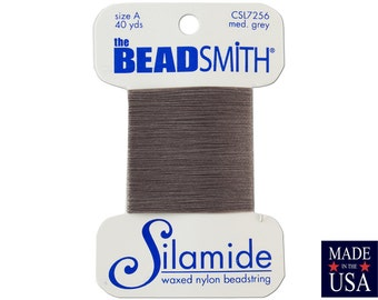 Medium Grey Silamide Waxed Nylon Beadstring Size A (40 Yards) CSL7256