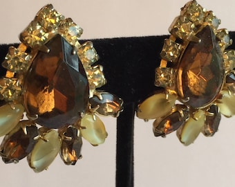 Large Vintage Topaz Tear-Shape Rhinestone Earrings with Opalescent Yellow Accents