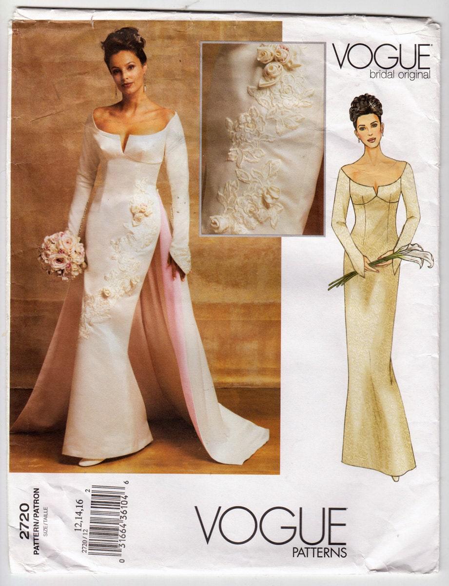 2000er Jahre Vogue 2720 Brautkleid mit geformten Ärmeln, Optional ...