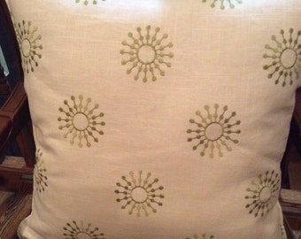 20in Starburst 100% embroidered linen pillow cover