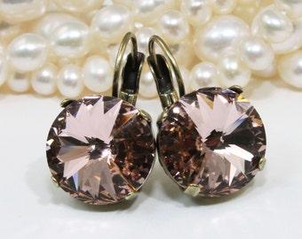 Blush Drop Earrings Pink Crystal Earrings Ballet Pink Bridal Drop earrings Blush wedding,14mm Swarovski Crystal,Vintage Rose,Brass,BE106