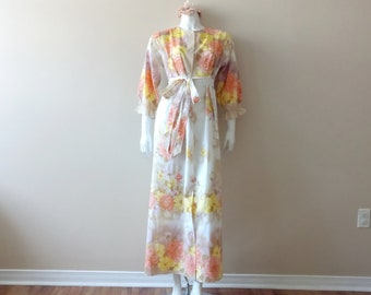 Vintage maxi dress | vintage sears floral button up maxi dress with ribbon