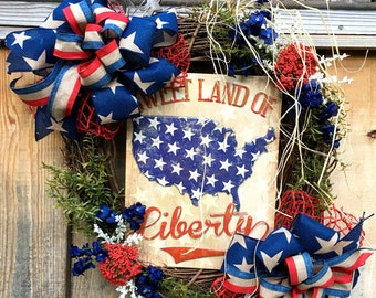 Wreath for Fourth of July, Patriotic wreath, Red, white and Blue wreath, Summer wreath, Memorial Day wreath