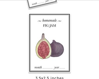 FIGS JAM label, figs jam sticker, label design, product packaging, figs label design, watercolor label design, figs jam sticker jpg
