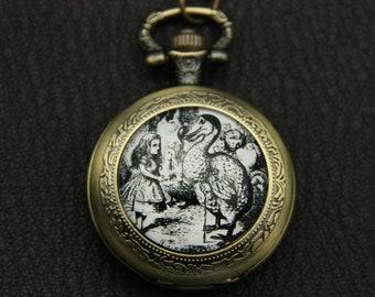 Alice in wonderland  Necklace Pocket watch white and black