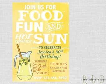 Adult Summer Birthday Pool Party Summer Gathering Invitation Digital Printable