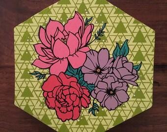 Hexagon Flower Wall Art Canvas, Geometric Hexi pattern spray paint stencil art, flowers